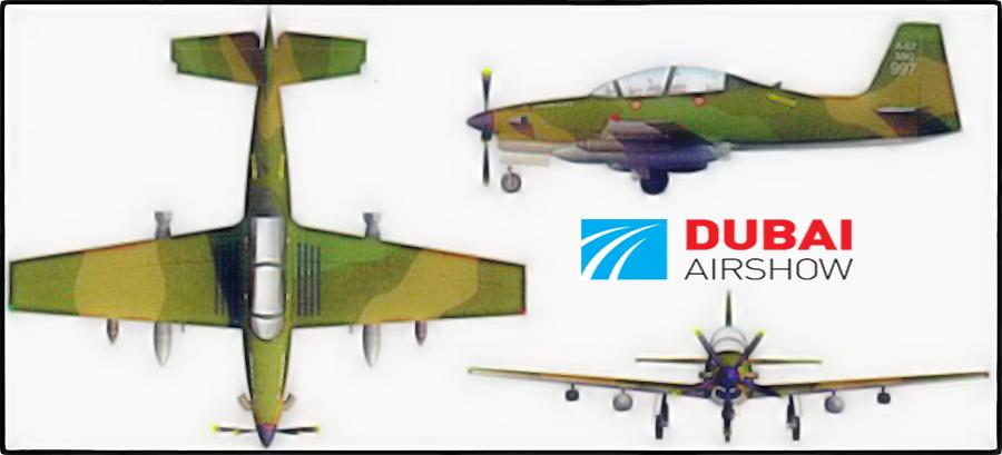 Проекции бразильско-эмиратского двухместного турбовинтового легкого боевого самолета Caldius/Novaer В-250.