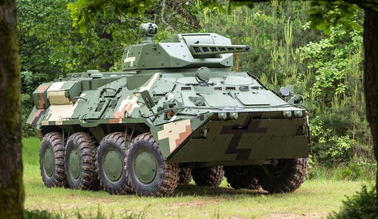 Украинский БТР-3Е, оснащенный дистанционно управляемой башней Cockerill CPWS бельгийской компании CMI Defence с 30 мм пушкой.