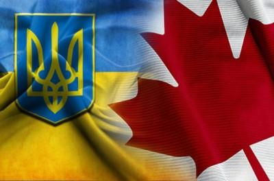 Флаги Украины и Канады.