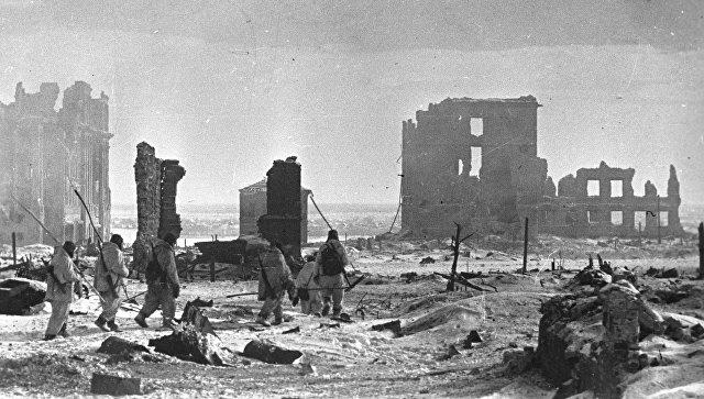 Центр города Сталинграда после освобождения от немецко-фашистских захватчиков. Великая Отечественная война 1941-1945 годов.