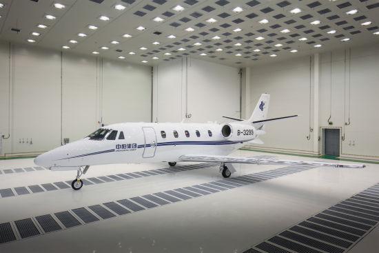 Бизнес-джет Cessna 560XL Citation XLS+, собранный на совместном предприятии в Гуанчжоу.