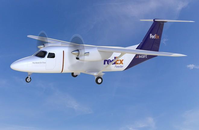 Проектное изображение создаваемого самолета Cessna SkyCourier 408 в грузовом варианте в окраске компании FedEx Express.