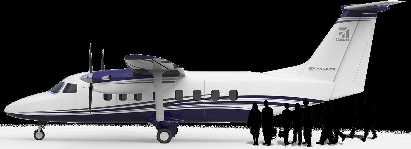 Проектное изображение создаваемого самолета Cessna SkyCourier 408 в пассажирском варианте.
