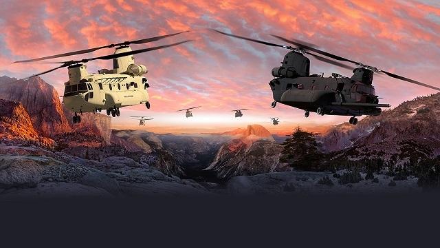 Компьютерная модель новых вертолетов CH-47 Chinook Block II.