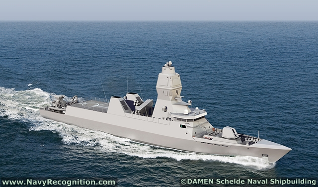 Проект корвета Damen Compact SIGMA 8011 (в обозначениях проектов первые две цифры означают длину корабля в метрах, а вторые две цифры - ширину). Корвет оснащен интегрированной мачтой Thales Nederland Integrated Mast Module (IMM).