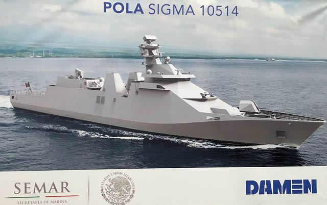 Проектное изображение заложенного для ВМС Мексики фрегата проекта Damen SIGMA 10514 (c) морское министерство Мексики (via www.navyrecognition.com ).