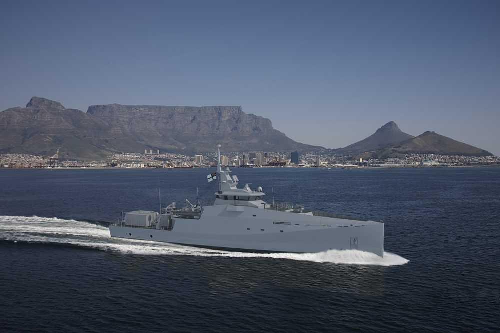 Проектное изображение малого патрульного корабля проекта Damen Stan Patrol 6211 для ВМС ЮАР.