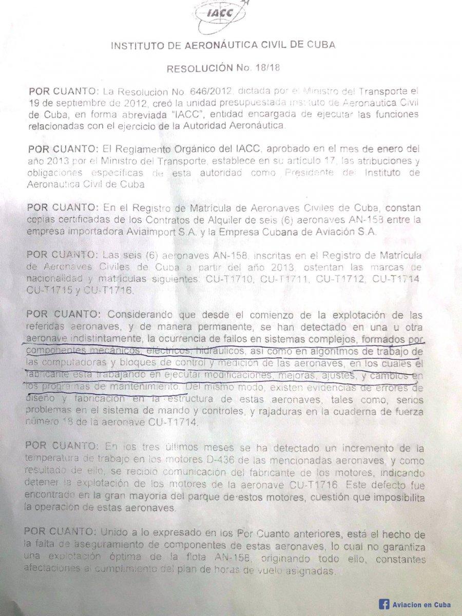 Директива Института гражданской авиации Кубы о приостановлении эксплуатации всех самолетов Ан-158 авиакомпании Cubana de Aviacion.