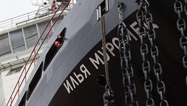 Дизель-электрический ледокол проекта 21180 Илья Муромец, построенный для ВМФ России, на АО Адмиралтейские верфи. Архивное фото.