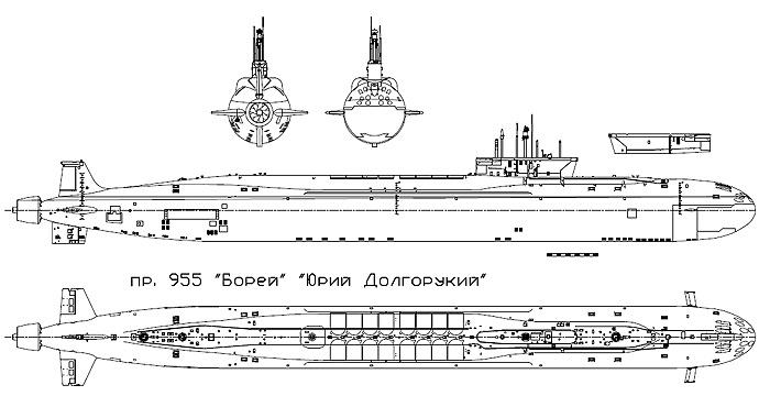 "Проекции ПЛАРБ К-535 ""Юрий Долгорукий"" пр.955."