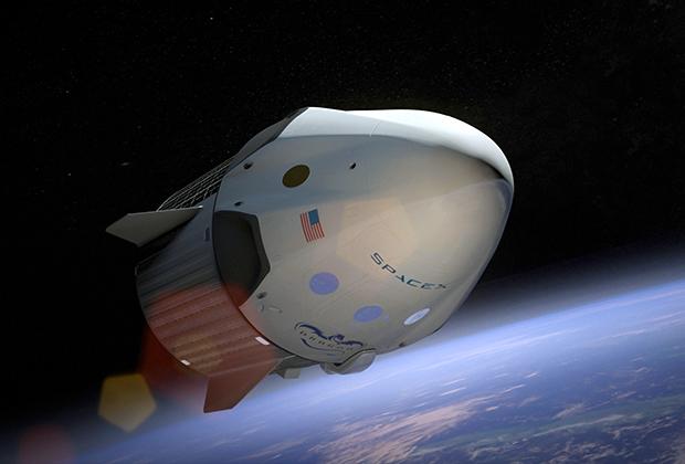 Корабль Dragon V2 на орбите (в представлении художника)