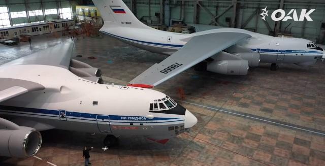 """Два из трех переданных Министерству обороны Российской Федерации в рамках Единого дня приемки военной продукции новых военно-транспортных самолетов Ил-76МД-90А, построенных в 2020 году на АО """"Авиастар-СП"""" (входит в Дивизион транспортной авиации АО """"Объеди"""