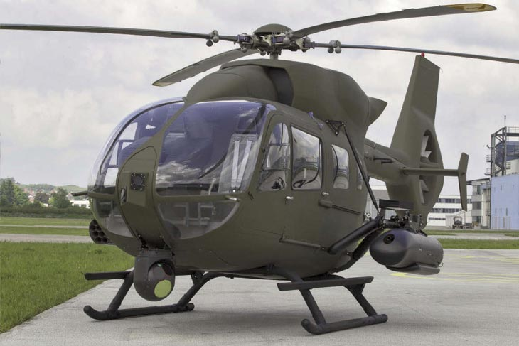 Макет легкого боевого вертолета Airbus Helicopters EC645T2.