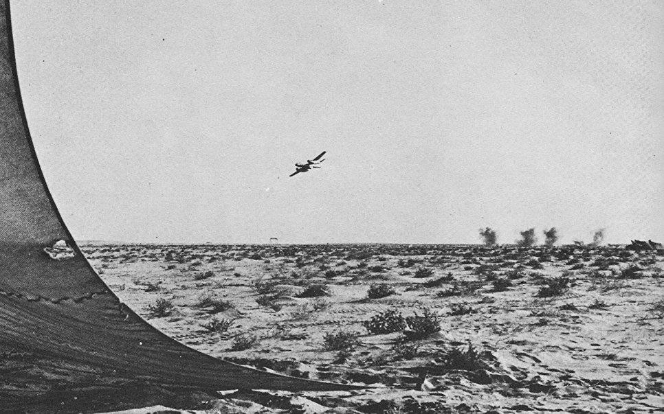 """Египетский Ил-28 наносит удар по позициям израильской армии на Синае во время """"войны на истощение""""."""