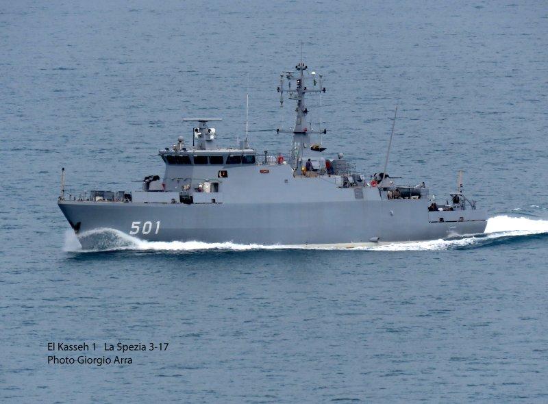 Построенный для ВМС Алжира итальянской судостроительной компанией Intermarine тральщик-искатель мин El Kasseh 1 на морских испытаниях. Специя, 17.03.2017.