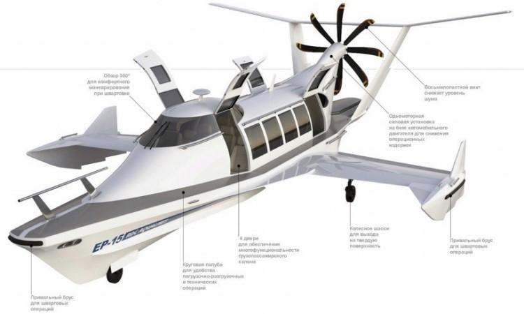 Экраноплан ЭП-15 способен перевозить до 15 пассажиров.