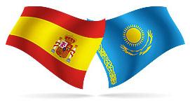 Флаги Испании и Казахстана.