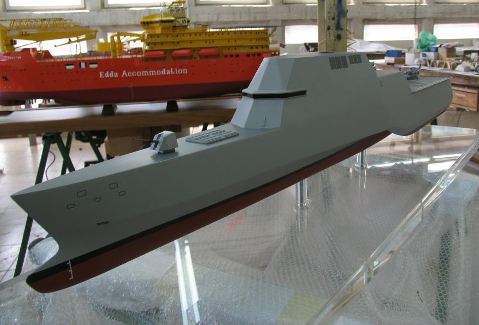 Модель перспективного стелс-фрегатами F-110 разработки компании Navantia.