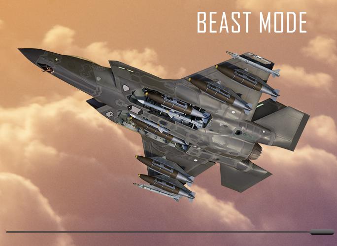 "F-35 в конфигурации ""зверя"" (с внешними подвесками)."