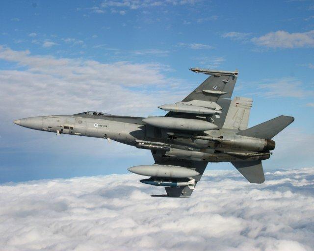 Истребитель F/A-18 Hornet ВВС Финляндии.