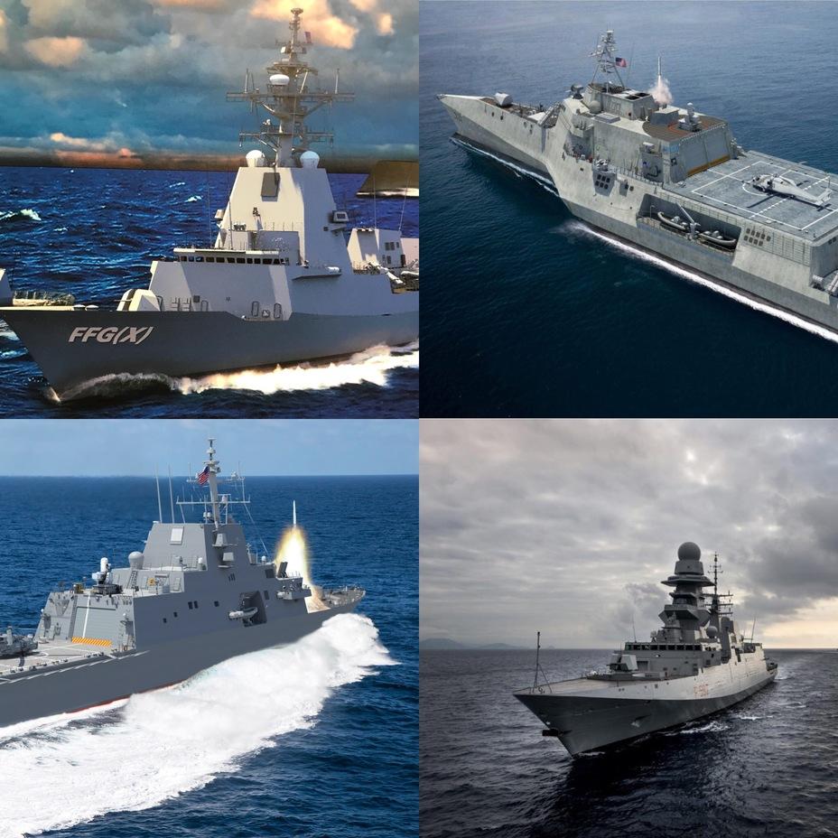 Фото и компьютерные модели кораблей-претендентов в рамках программы FFG (X).