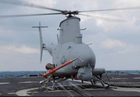 "БЛА MQ-8B ""Файр Скаут"" (Fire Scout) на борту боевого корабля прибрежной зоны Фридом"" (Freedom) LCS-1."