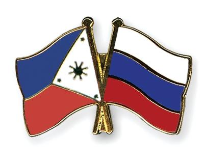Флаги России и Филиппин.