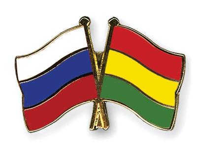 Флаги России и Боливии.
