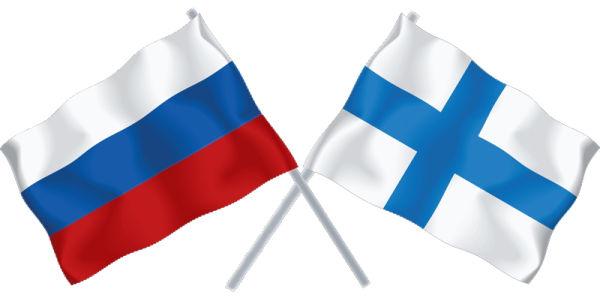 Флаги России и Финляндии