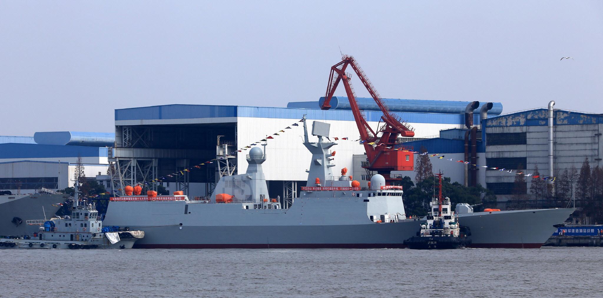 29-й по счету фрегат проекта 054А, строящийся для ВМС НОАК и спущенный на воду 16.12.2017 на китайском судостроительном предприятии Hudong Shipyard объединения Hudong-Zhonghua Shipbuilding Group в Шанхае.