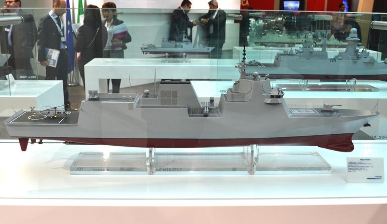 Концептуальный проект европейских многоцелевых фрегатов FREMM, оснащенный американской боевой системой Aegis, представленный на выставке Euronaval 2014 концерном Fincantieri.