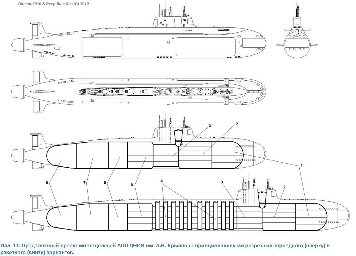 Предэскизный проект многоцелевой АПЛ ЦНИИ им. Крылова с разрезами торпедного (вверху) и ракетного (внизу) вариантов<br>Фото с сайта http://paralay.net/.
