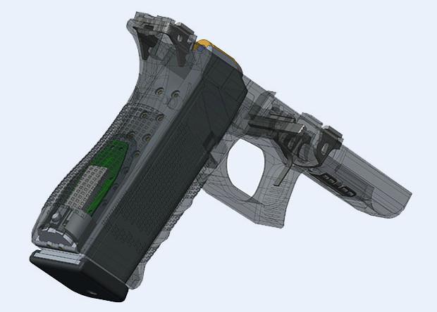 Сенсор Yardarm на рукояти Glock 17.