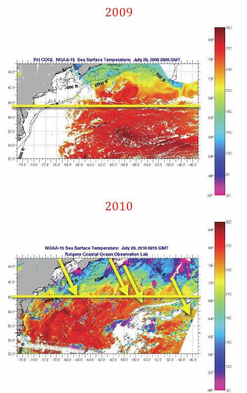 Резкое падение температуры Атлантики после катастрофы в Мексиканском заливе.