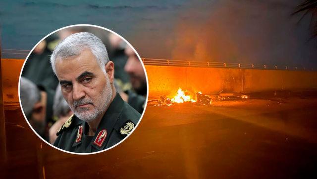 Горящий автомобиль около аэропорта Багдада после авиаудара США, в результате которого был убит командующий силами спецназначения «Аль-Кудс» иранского Корпуса стражей исламской революции (КСИР) Касем Сулеймани, 3 января 2020 года