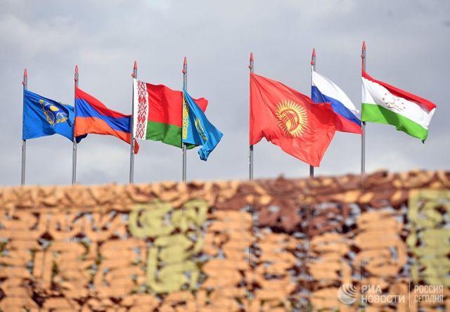 Государственные флаги стран-участниц учений ОДКБ Взаимодействие-2018. Архивное фото