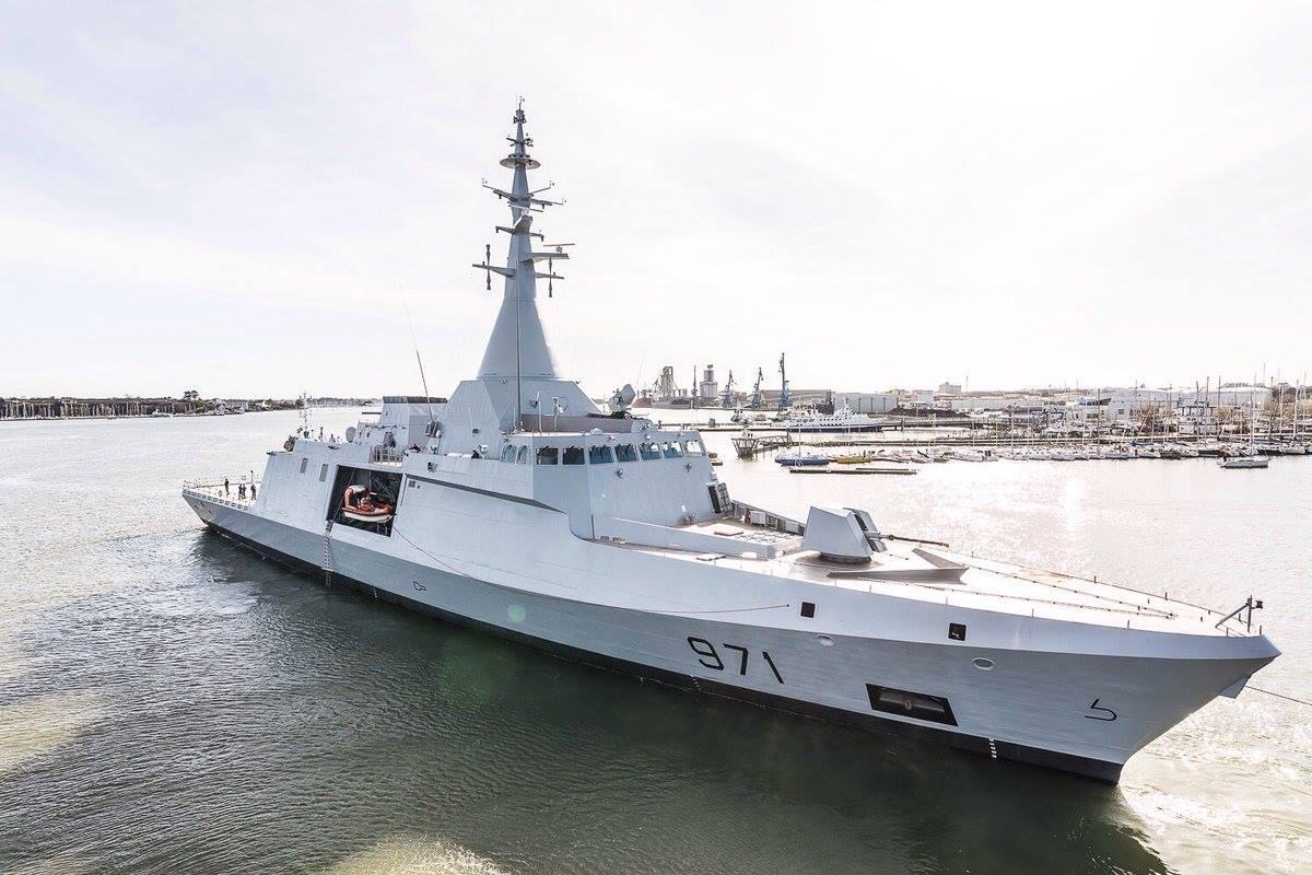 Головной построенный для ВМС Египта французским судостроительным объединением Naval Group (бывшее DCNS) корвет El Fatеh проекта Gowind 2500. Лориан, сентябрь 2017 года.