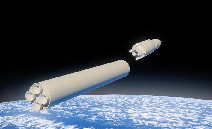 Графическое изображение российского ракетного комплекса стратегического назначения с гиперзвуковым планирующим крылатым блоком.