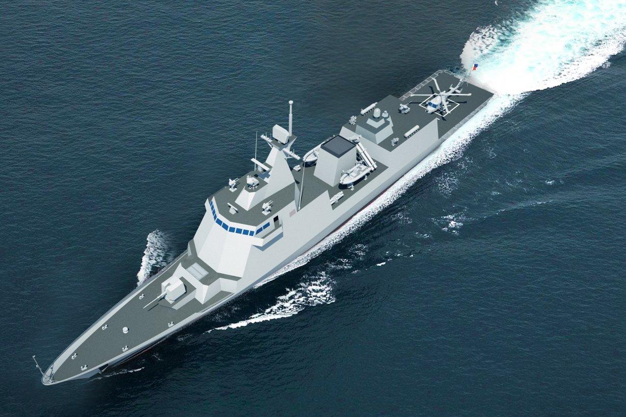 """Проектное изображение заказанного ВМС Филиппин """"легкого"""" фрегата южнокорейской корпорации Hyundai Heavy Industries."""