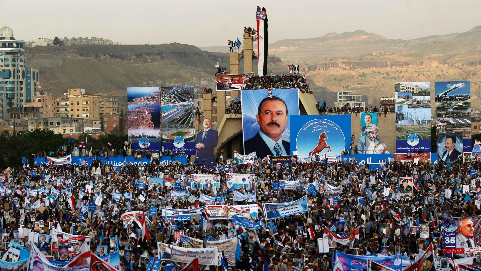 Демонстрация сторонников президента бывшего президента Йемена Салеха в Сане, август 2017 года.
