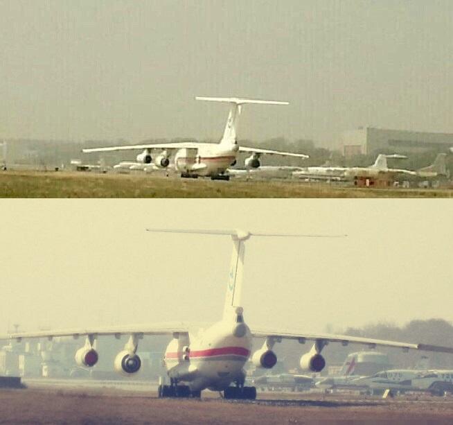 Транспортный самолет Ил-76, используемый в качестве летающей лаборатории для испытаний нового ТРДД WS-20.