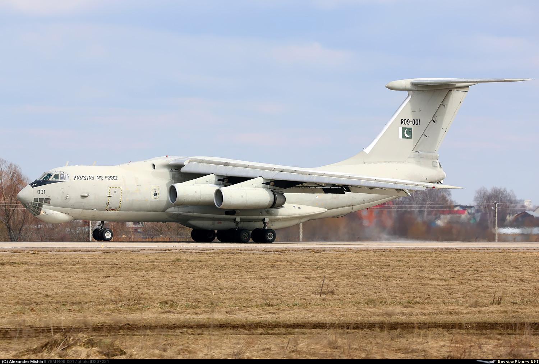 Прибывший для прохождения капитально-восстановительного ремонта в России самолет-заправщик Ил-78МП ВВС Пакистана (бортовой номер R09-001, бывший CCCP/UR-76742, заводской номер 0073478346, серийный номер 59-07). Жуковский, 04.04.2017.