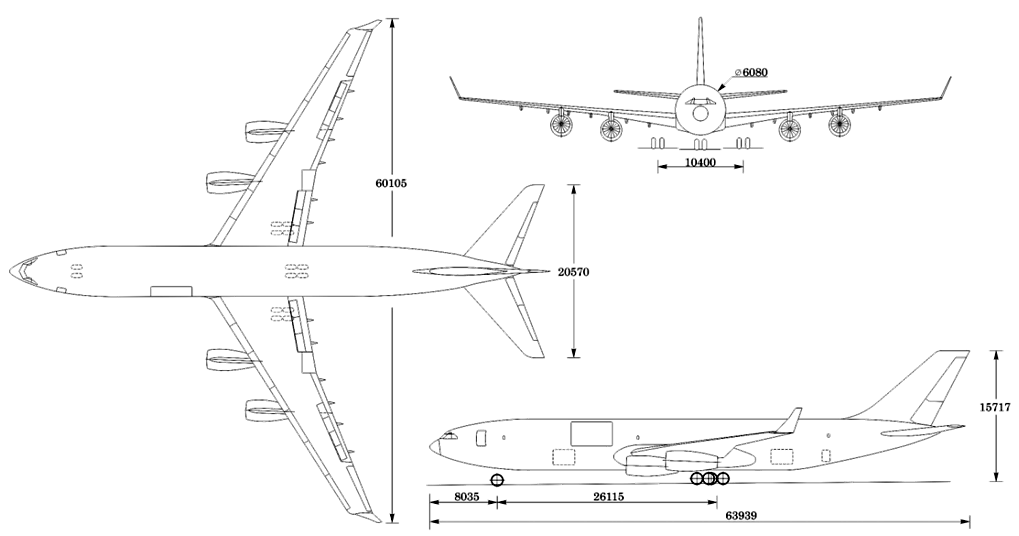 Ил-96Т Проекции.