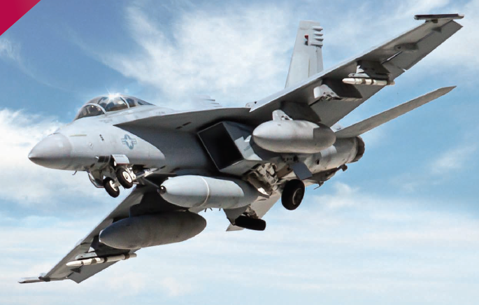 Контейнерная ИК-станция IRST21 разработки компании Lockheed Martin под фюзеляжем истребителя F/A-18F Super Hornet, 2014 год.