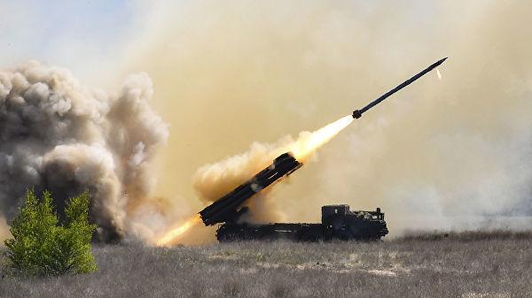 """Испытание украинской реактивной системы залпового огня """"Ольха"""""""