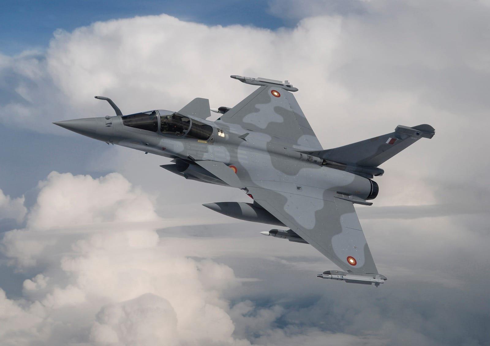Изображение истребителя Dassault Rafale EQ в окраске ВВС Катара.