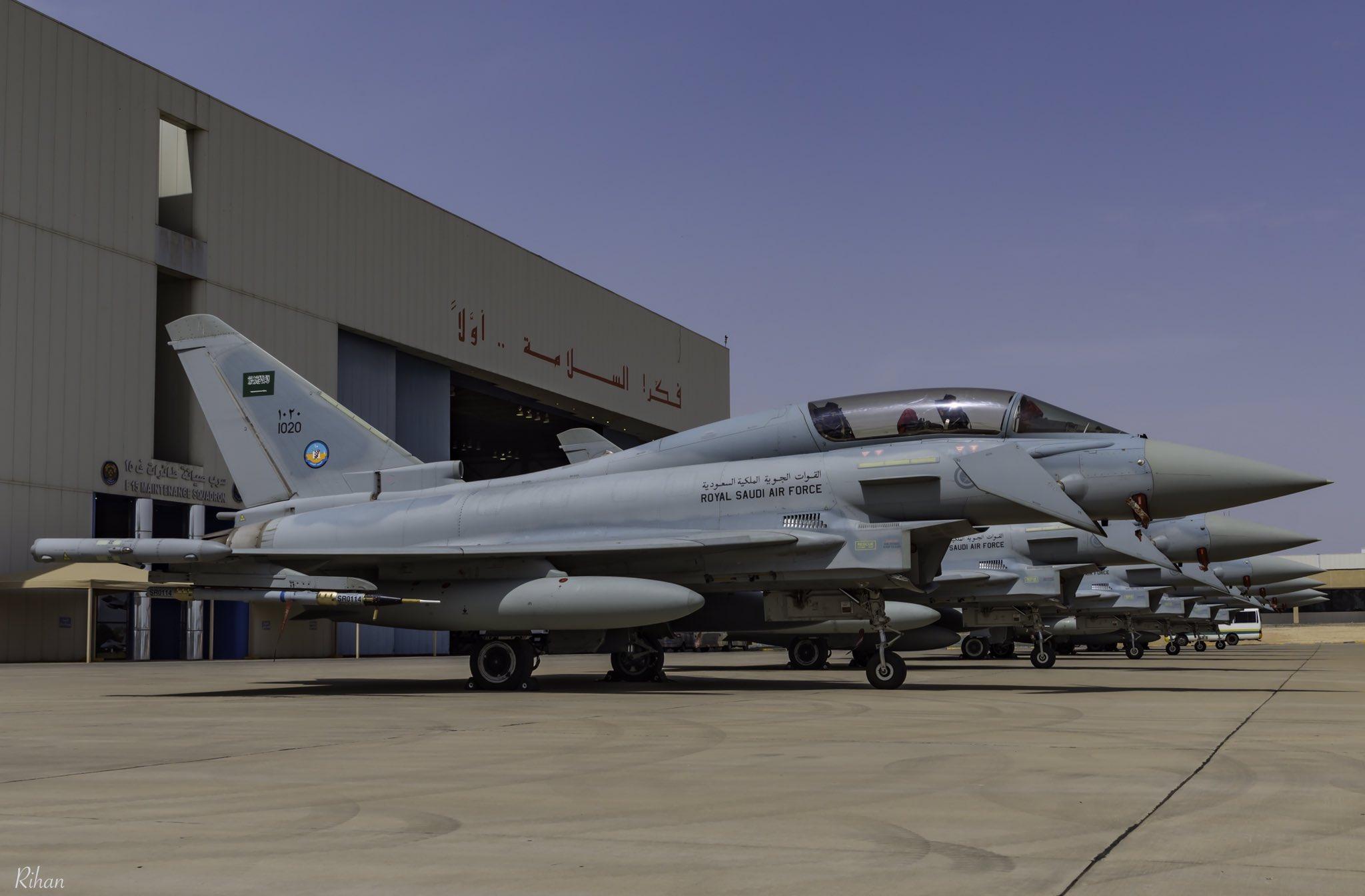 Истребители Eurofighter Typhoon ВВС Саудовской Аравии на авиабазе Таиф, 2018 год.