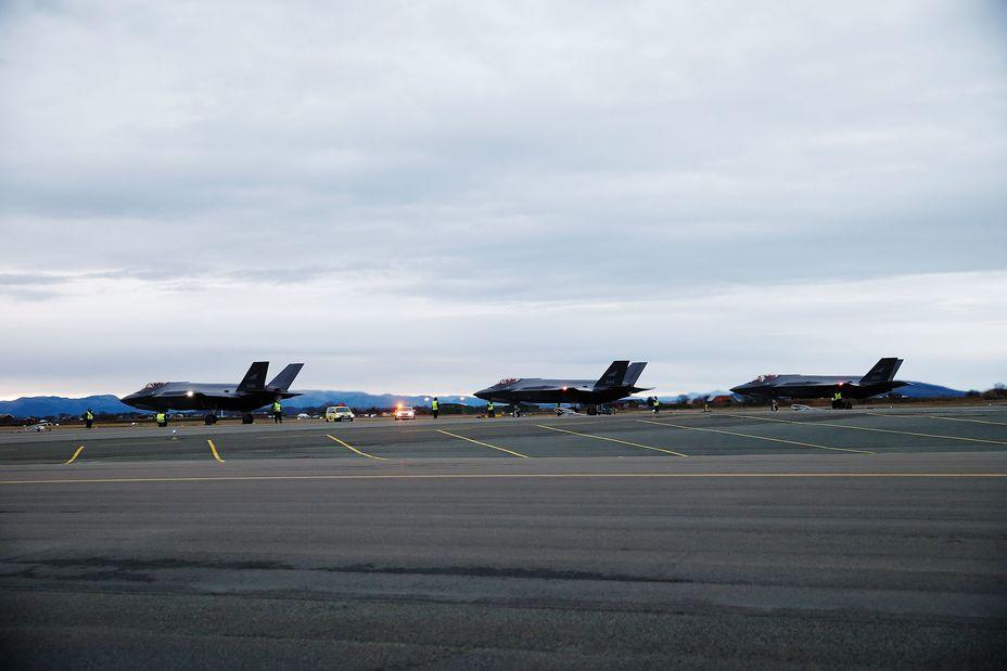 Истребители F-35 на авиабазе Эрланн.
