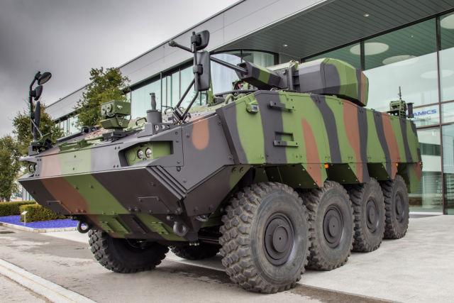 Изготовленный General Dynamics European Land Systems - MOWAG для румынской армии линейный бронетранспортер Piranha 5 в полной комплектации, оснащенный израильским необитаемым боевым модулем Elbit Systems UT30MK2 c 30-мм автоматической пушкой Northrop Grum