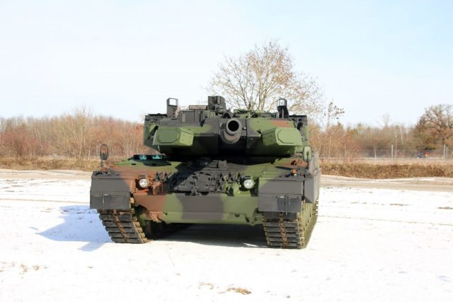 """Изображение (видимо, компьютерная графика) перспективного германского танка Leopard 2A7А1, оснащенного комплексом активной защиты Trophy (""""Меиль Руах"""") производства израильской компании Rafael Advanced Defense Systems"""